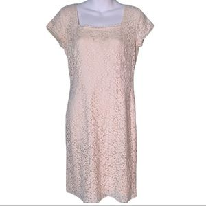 Bloomingdale Ivory Lace Dress Square Neck Dress